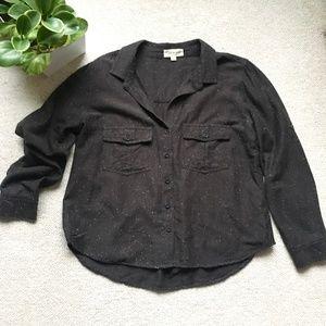 Cloth & Stone charcoal heathered boxy flannel